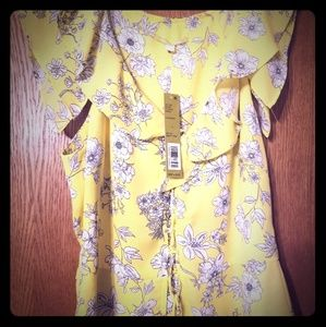 Gianni bini size small yellow floral top nwt new